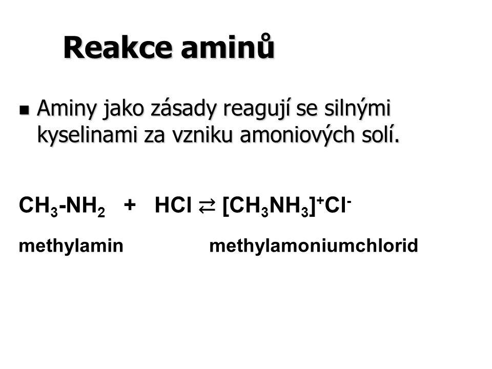 Reakce aminů Aminy jako zásady reagují se silnými kyselinami za vzniku amoniových solí. CH3-NH2 + HCl ⇄ [CH3NH3]+Cl-